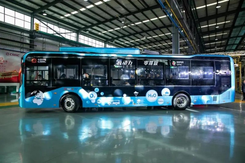 国家电投与中国中车联合研发的氢燃料电池城市客车